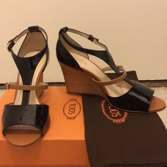 1f9fe95c5e Tod's Shoes | Tods Black Tan Wedge Sandals Size 39 | Poshmark